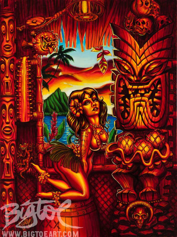 Howie's Tiki Lani Archival PAPER Art Print - Select Size