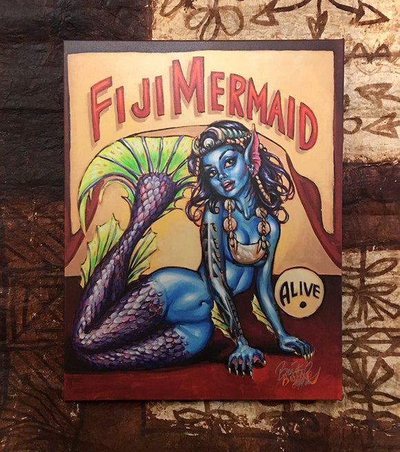 Fiji Mermaid Archvial CANVAS Art Print - Select Size