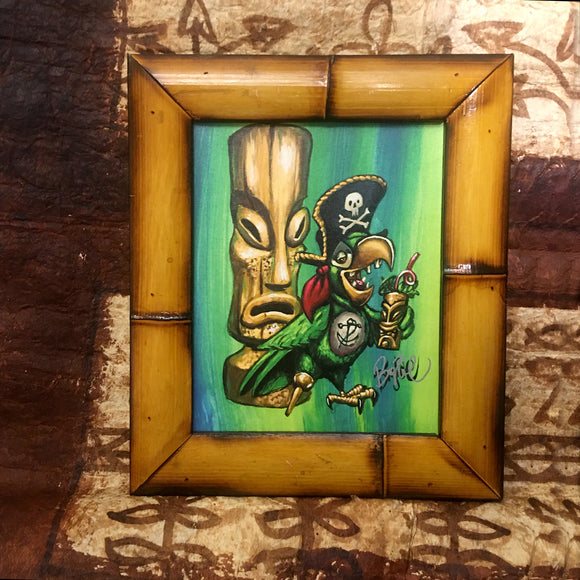 Party Pirate Parrot FRAMED CANVAS Art Print