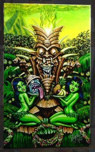 Zombie Tiki Deluxe Archival CANVAS Art Print - Select Size