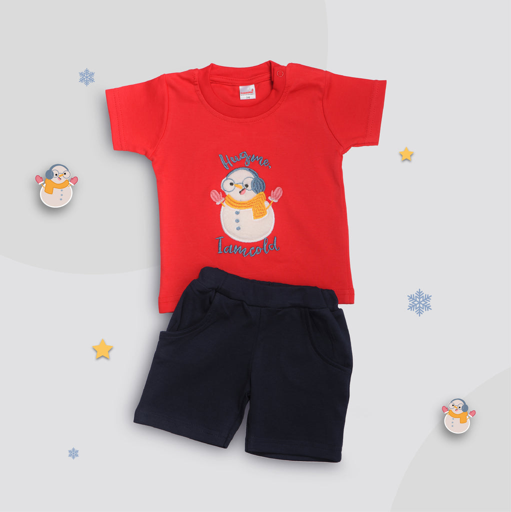 Half Sleeve Round Neck T-Shirt with Knee Length Shorts for Boys