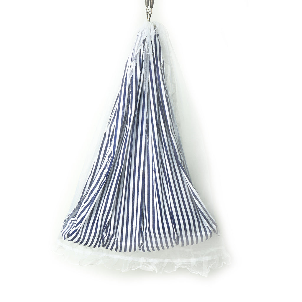 Blue Striped Cradle Cloth With Mosquito Net And Pillow