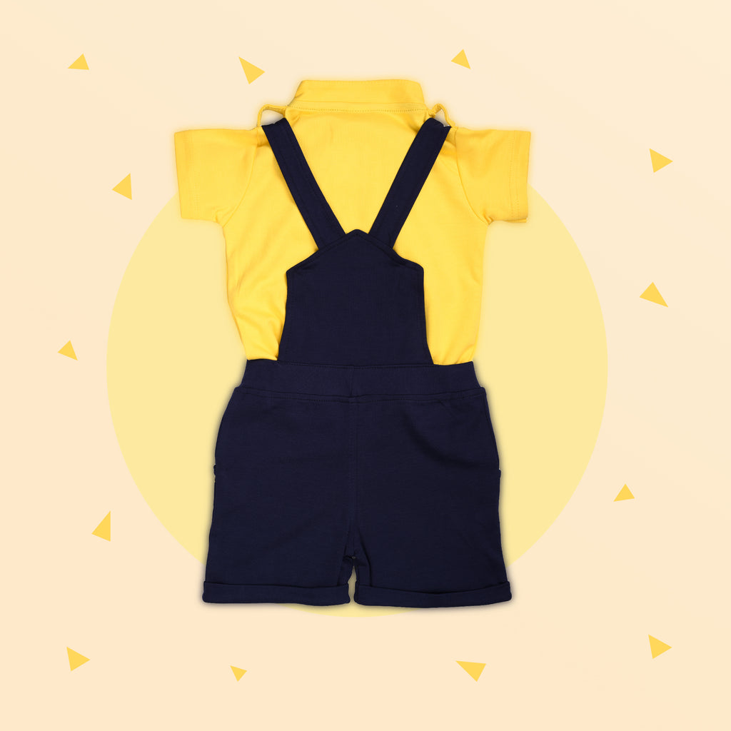 Dungaree Set With Half Sleeves Collar Neck T Shirt For Baby Boys