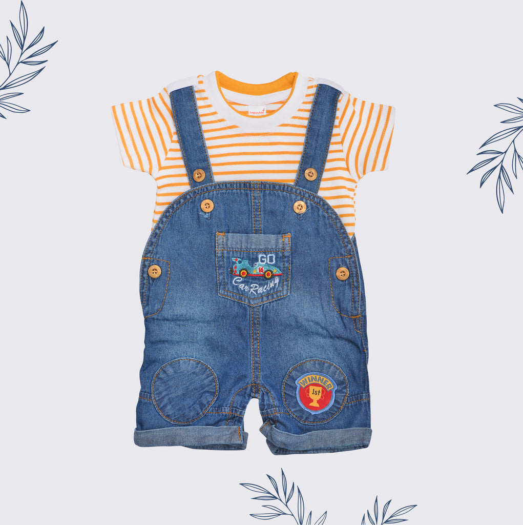 Denim Dungaree Set For Baby Boys