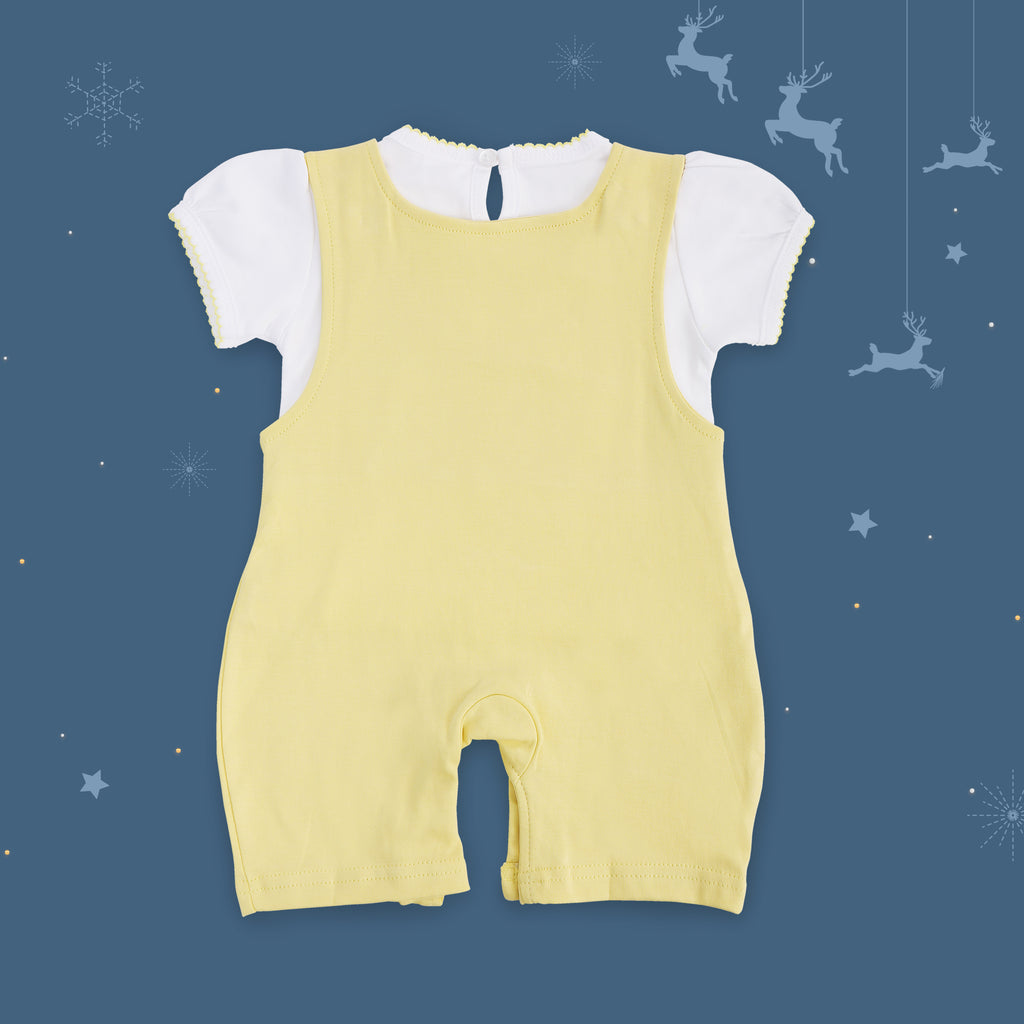 Half Sleeves Dungaree Set For Baby Girls