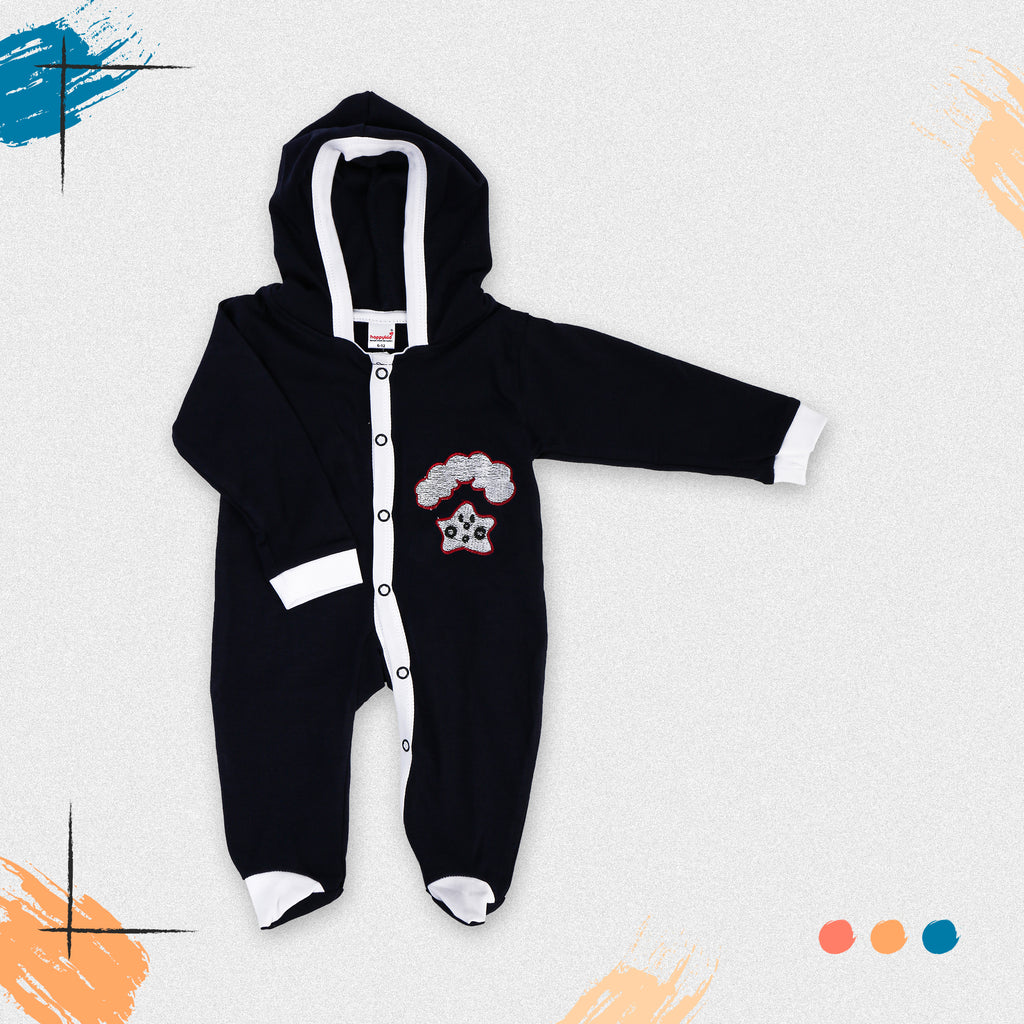 Full Sleeves Romper Bodysuit With Hood For Babies