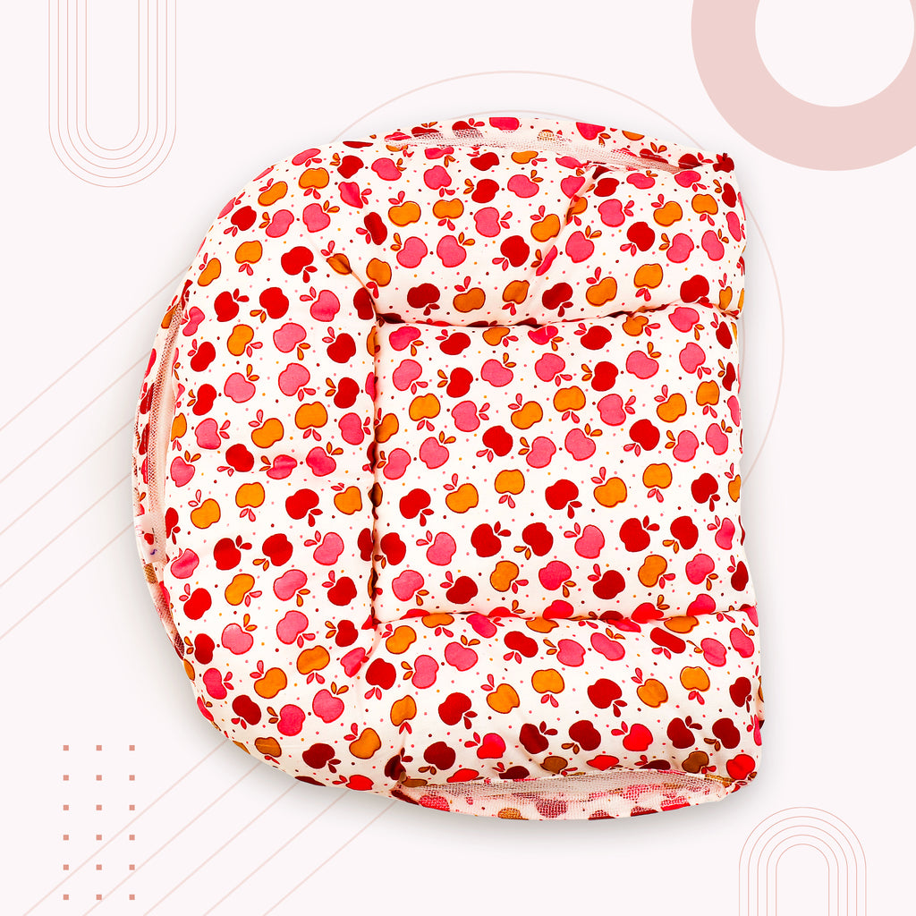 Red Print Stylish Baby Bed with Mosquito Net