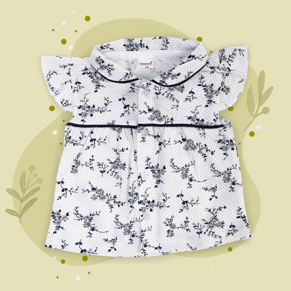 Floral Print Top With Navy Blue Pants For Baby Girls