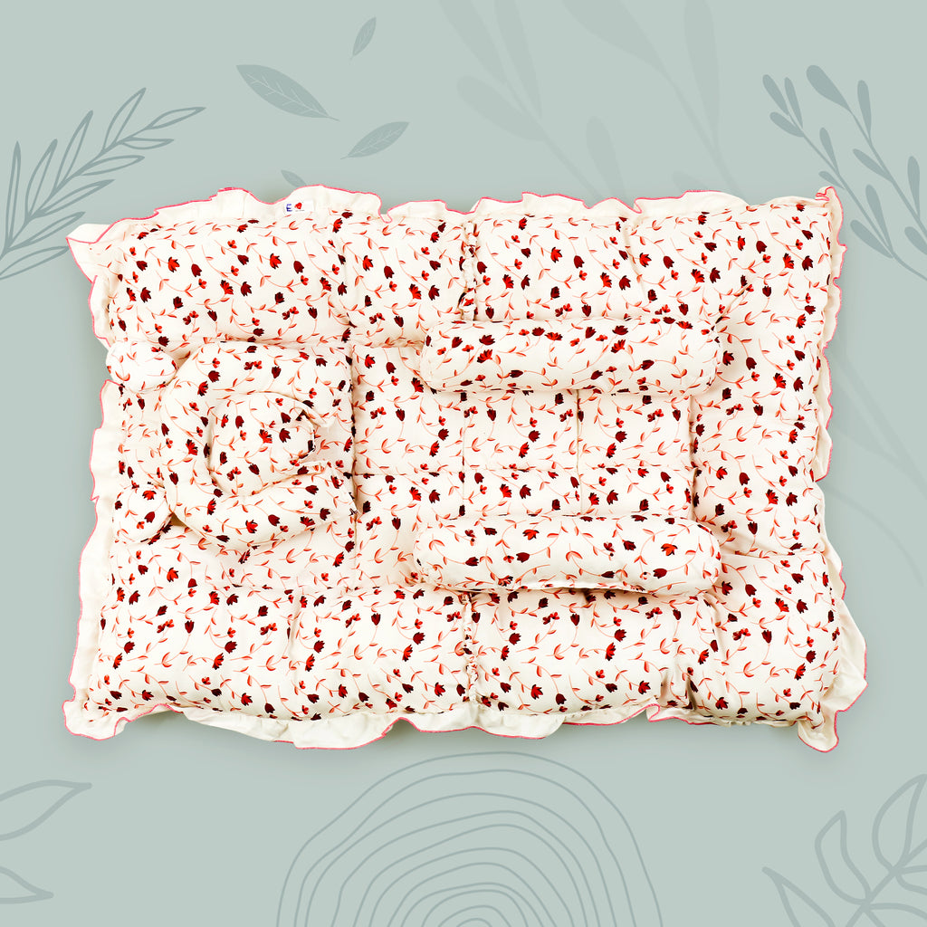 Floral Print Baby Bed With Pillow and Side Pillows