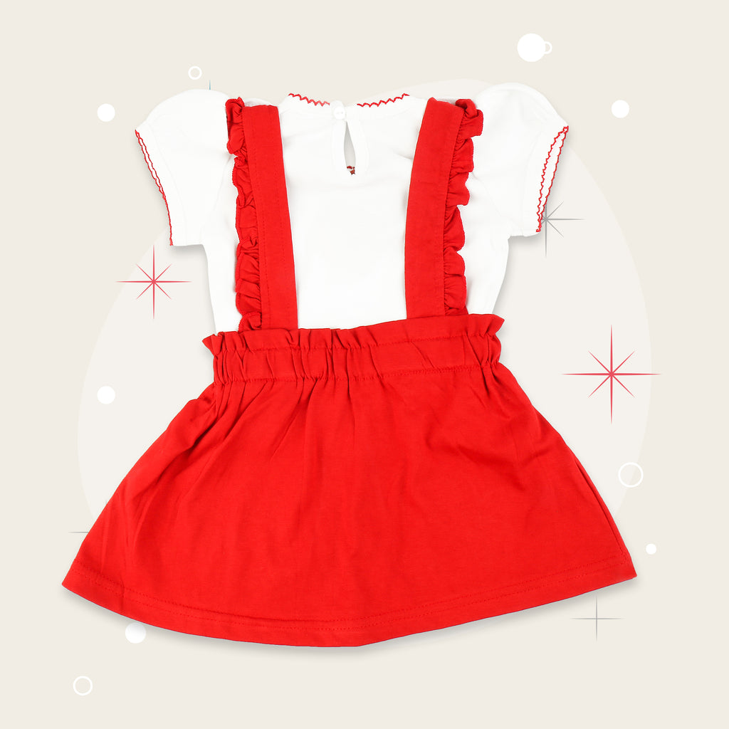 Dungarees Style Frock Set For Baby Girls