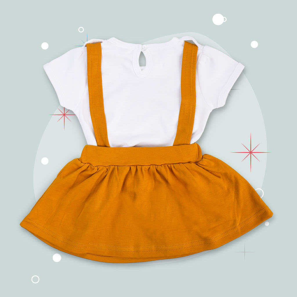 Dungaree Style Frock With White Half Sleeves Tshirt