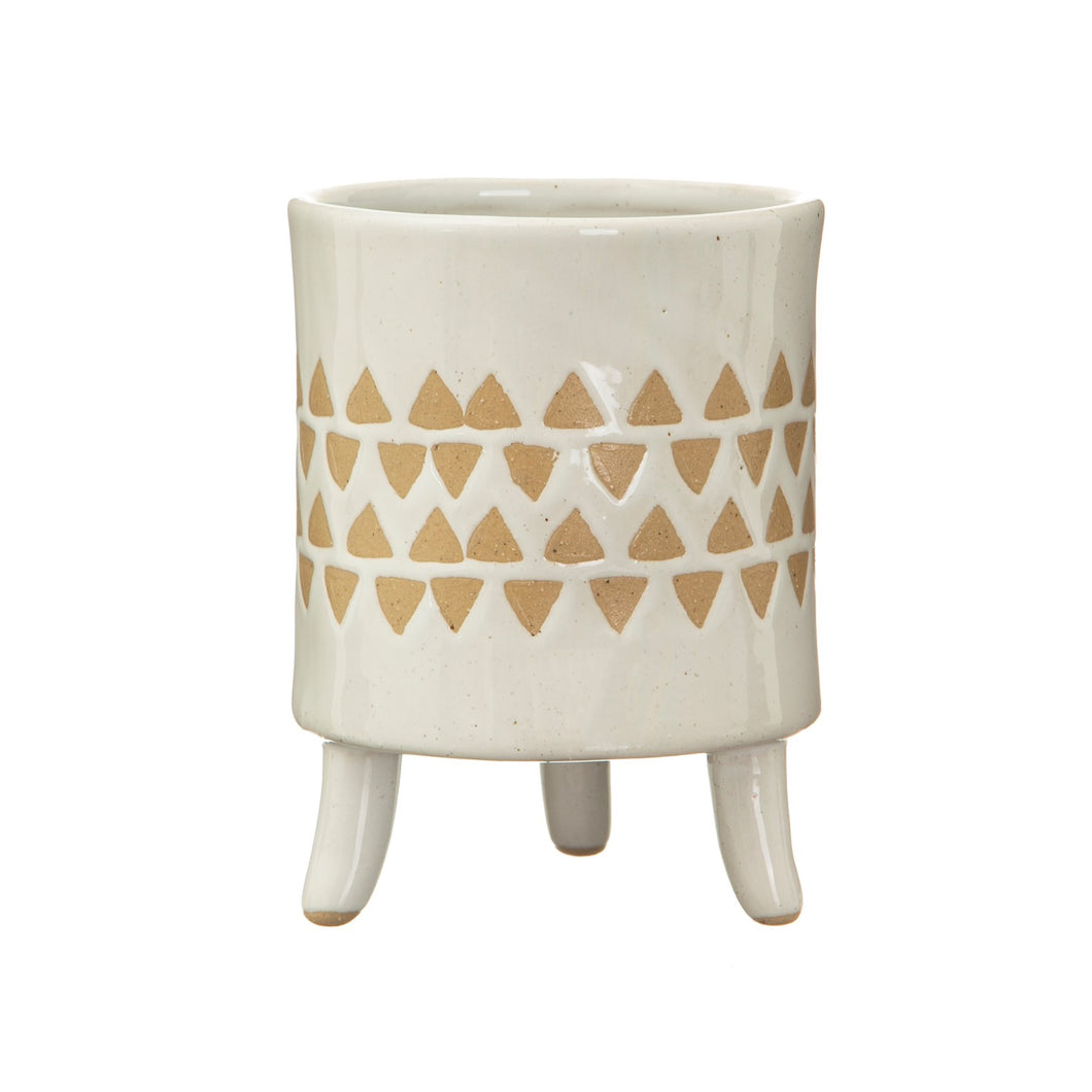 White & Taupe geo plant pot with legs - 9cm