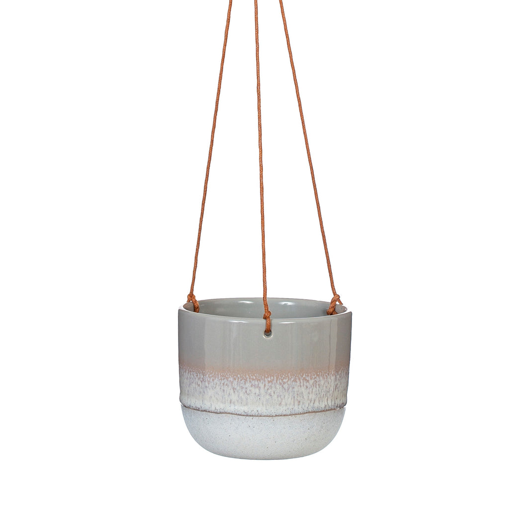 Mojave Grey Glaze Hanging Plant pot