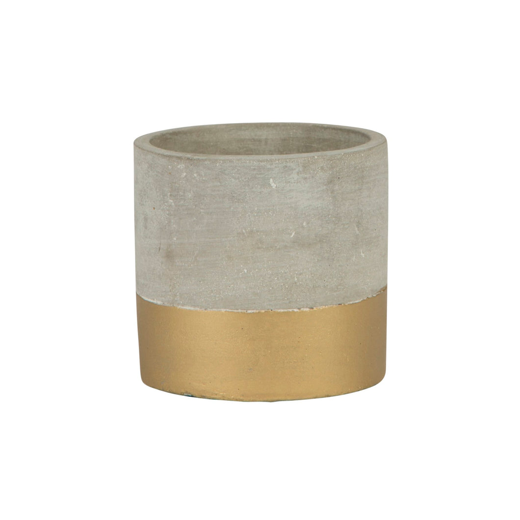 Tuva Gold Dip Cement Planter - 12cm
