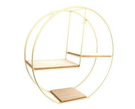 Round wall shelf - gold metal & wood - 34cm diameter