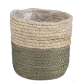 Green Seagrass basket plant pot - 13cm