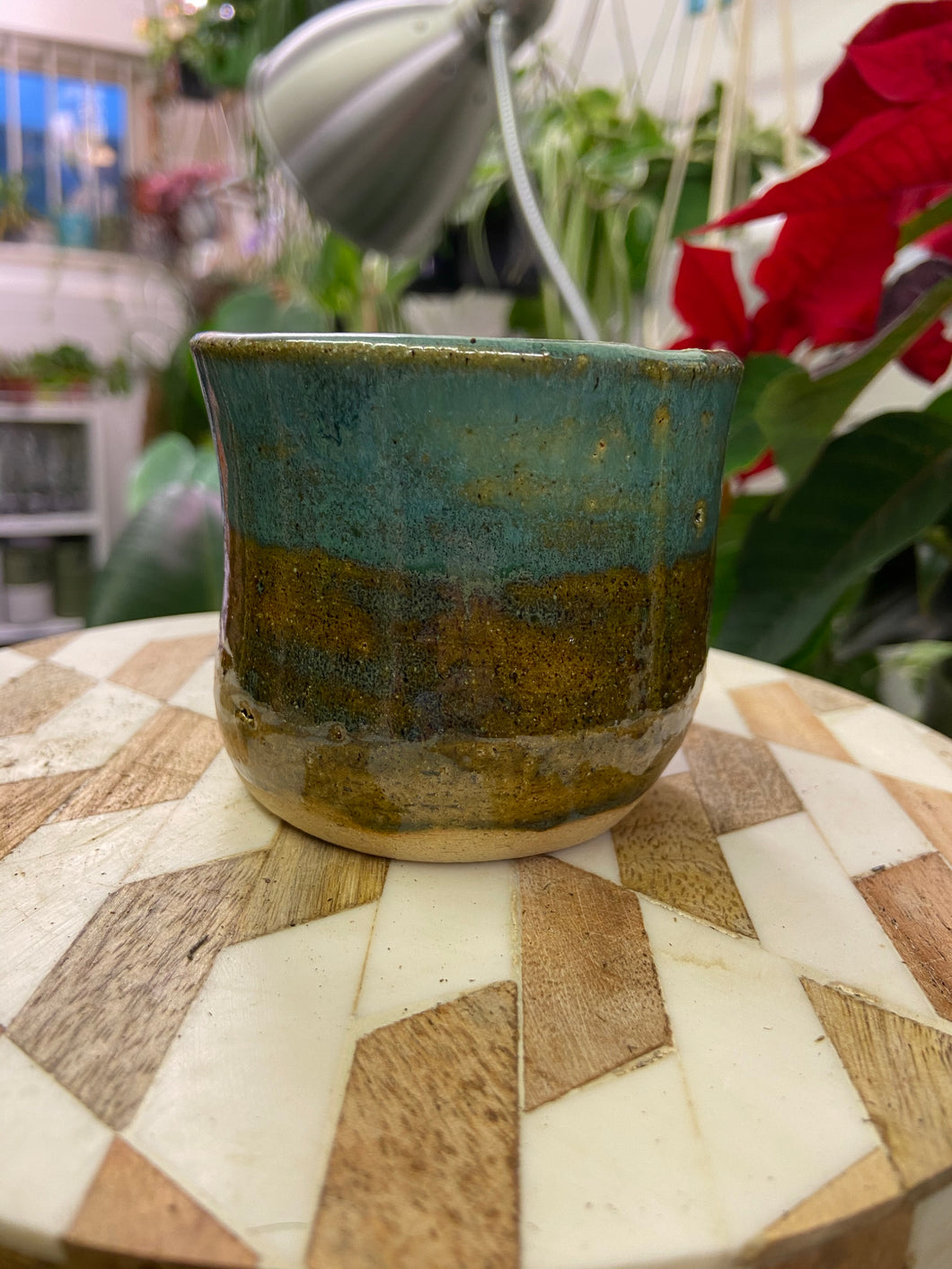 Handmade blue/ teal plant pot - 5.5cm internal