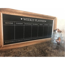 Load image into Gallery viewer, Wooden Weekly Planner chalkboard