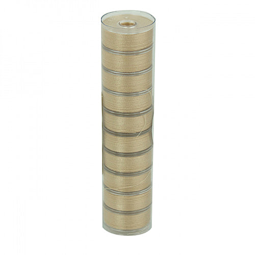 Fil-Tec Class L Clear Quilt 50 wt Egyptian Cotton 75 yd. Pre-Wound Bobbins, Tube of 10 Bobbins  - Light Tan