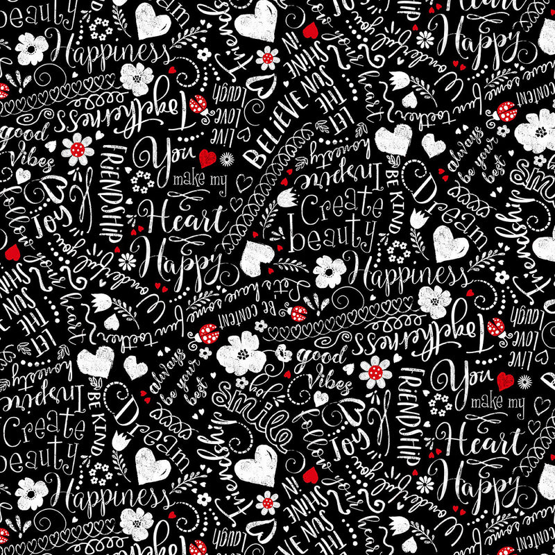 You Make My Heart Happy GAIL-C7741 BLACK Happy Words Scribbles