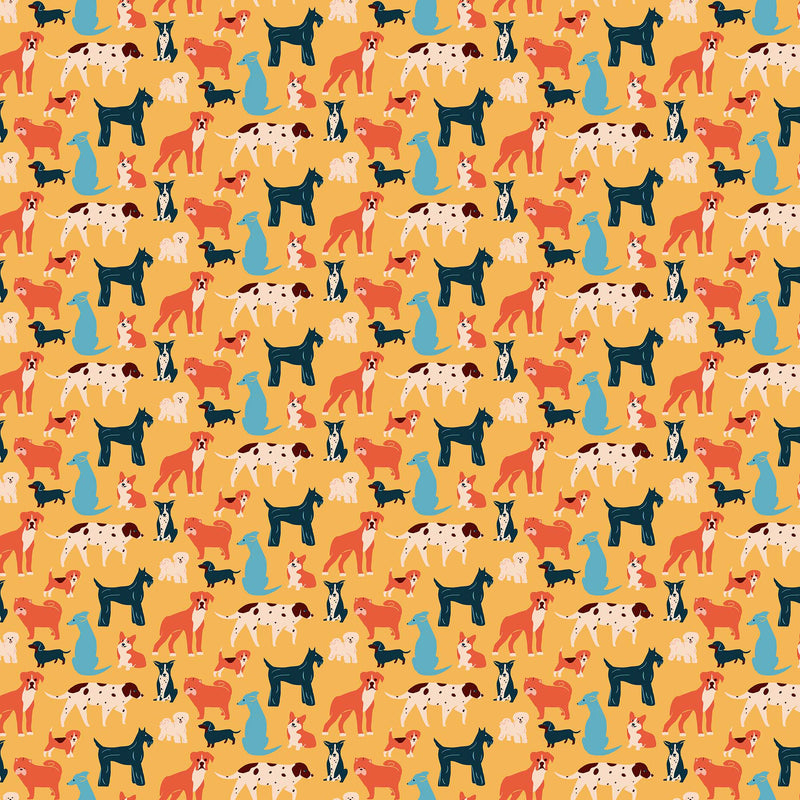 Simple Pleasures 90308-54 Dogs Yellow Multi