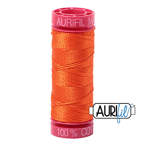 Aurifil Mako 12wt Cotton 50 m (54 yd.) spool - 1104 Neon Orange<br><font color = red>Please note, that this colour in this size is not available in-store, but will be ordered for you.</font>