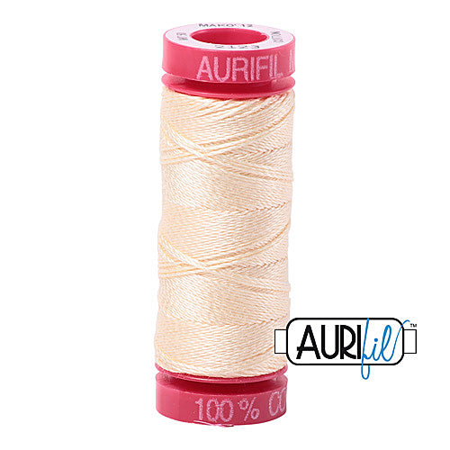 Aurifil Mako 12wt Cotton 50 m (54 yd.) spool - 2123 Butter<br><font color = red>Please note, that this colour in this size is not available in-store, but will be ordered for you.</font>