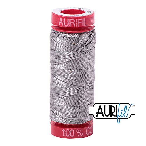 Aurifil Mako 12wt Cotton 50 m (54 yd.) spool - 2620 Stainless Steel<br><font color = red>Please note, that this colour in this size is not available in-store, but will be ordered for you.</font>