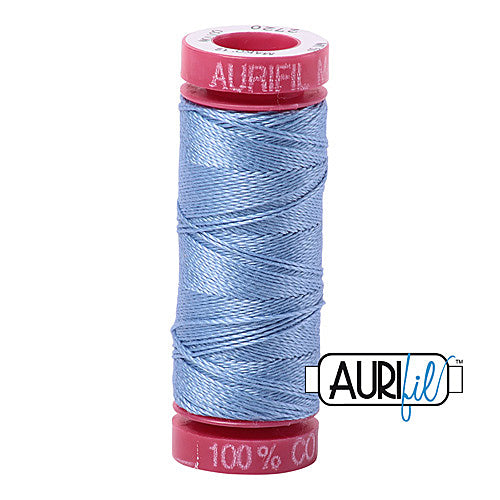 Aurifil Mako 12wt Cotton 50 m (54 yd.) spool - 2720 Light Delft Blue<br><font color = red>Please note, that this colour in this size is not available in-store, but will be ordered for you.</font>