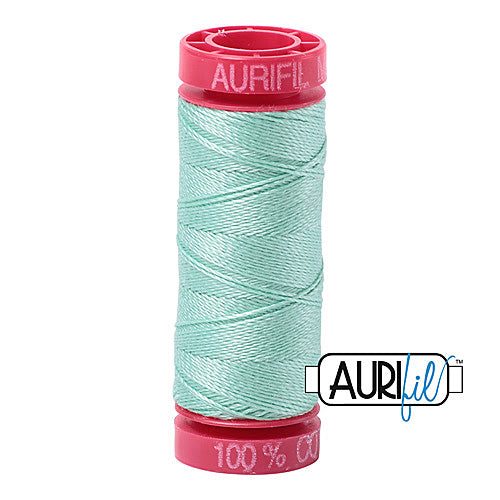 Aurifil Mako 12wt Cotton 50 m (54 yd.) spool - 2835 Medium Mint<br><font color = red>Please note, that this colour in this size is not available in-store, but will be ordered for you.</font>