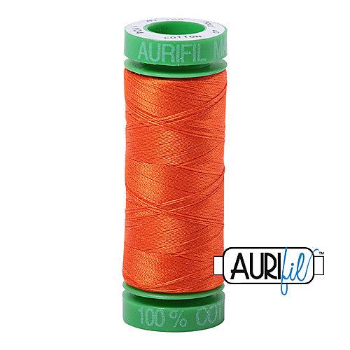 Aurifil Mako 40wt 2-ply Cotton 150 m (164 yd.) spool - 1104 Neon Orange<br><font color = red>Please note, this item is not available in-store, but will be ordered for you.</font>