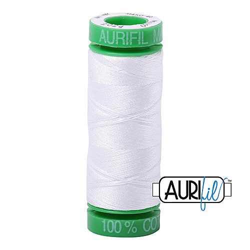 Aurifil Mako 40wt 2-ply Cotton 150 m (164 yd.) spool - 2024 White<br><font color = red>Please note, this item is not available in-store, but will be ordered for you.</font>