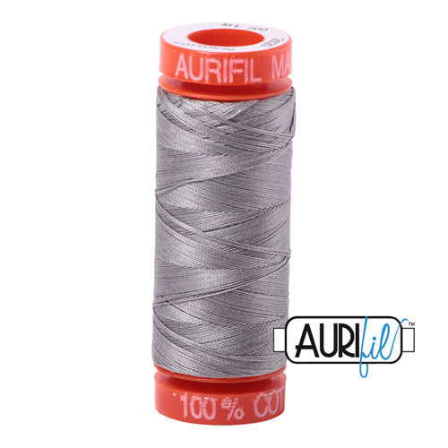 Aurifil Mako 50wt Cotton 200 m (220 yd.) spool - 2620 Stainless Steel