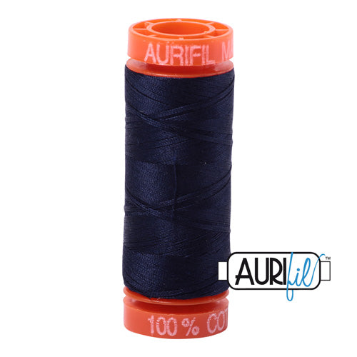 Aurifil Mako 50wt Cotton 200 m (220 yd.) spool - 2785 Very Dark Navy