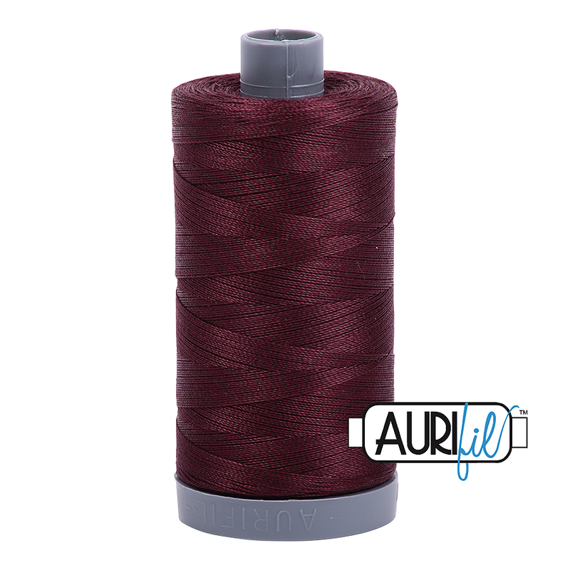 Aurifil Mako 28wt Cotton 750 m (820 yd.) spool - 2468 Dark Wine