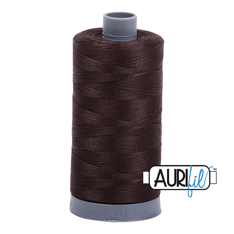 Aurifil Mako 28wt Cotton 750 m (820 yd.) spool - 5024 Dark Brown
