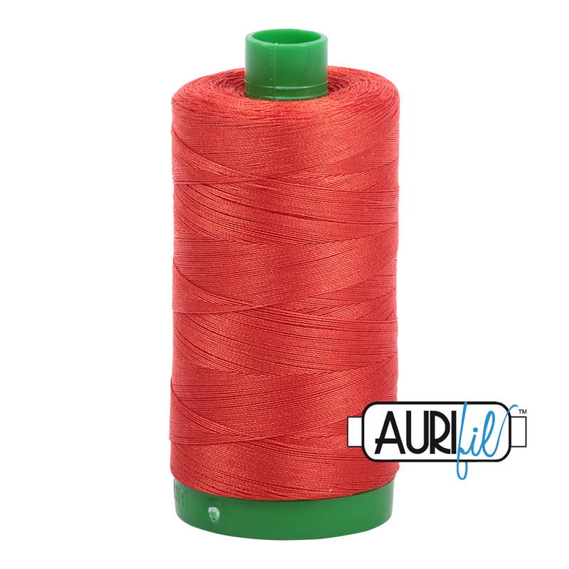 Aurifil Mako 40wt 2-ply Cotton 1000 m (1094 yd.) spool - 2245 Red Orange