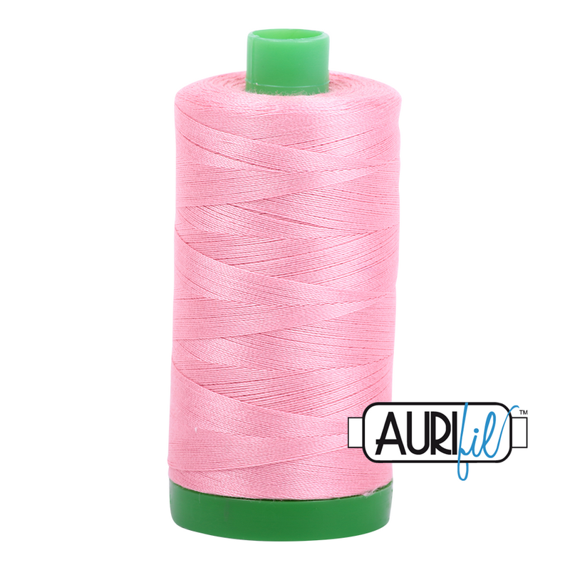 Aurifil Mako 40wt 2-ply Cotton 1000 m (1094 yd.) spool - 2425 Bright Pink