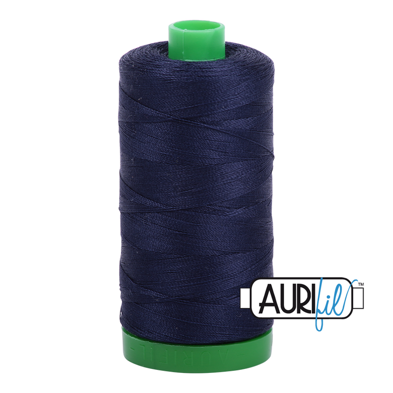 Aurifil Mako 40wt 2-ply Cotton 1000 m (1094 yd.) spool - 2785 Very Dark Navy