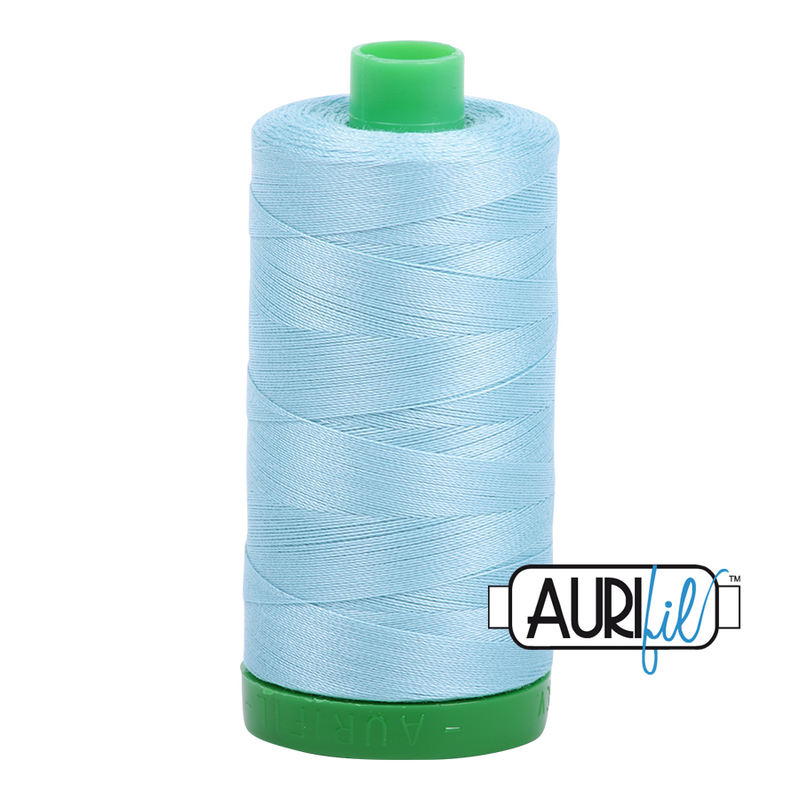 Aurifil Mako 40wt 2-ply Cotton 1000 m (1094 yd.) spool - 2805 Light Grey Turquoise