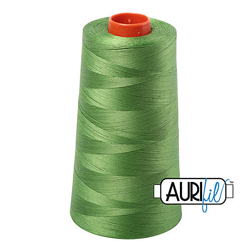 Aurifil Mako 50wt Cotton 5900 m (6452 yd.) cone - 1114 Grass Green<br><font color = red>Please note, that this colour in this size is not available in-store, but will be ordered for you.</font>