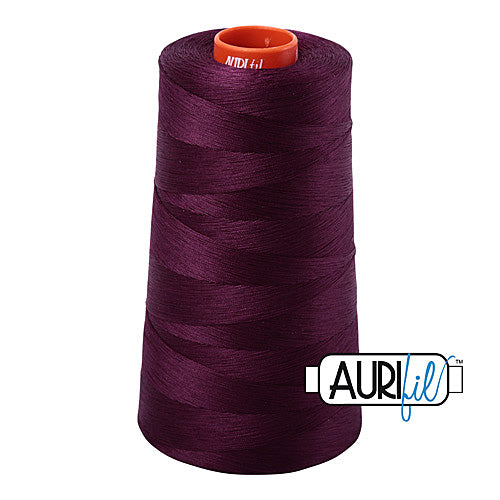 Aurifil Mako 50wt Cotton 5900 m (6452 yd.) cone - 1240 Very Dark Eggplant<br><font color = red>Please note, that this colour in this size is not available in-store, but will be ordered for you.</font>