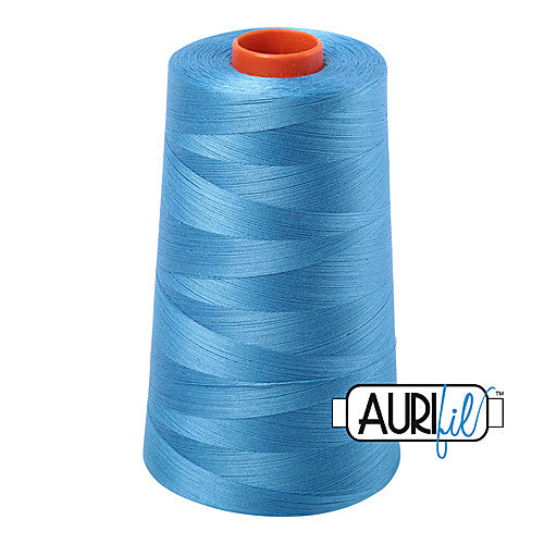 Aurifil Mako 50wt Cotton 5900 m (6452 yd.) cone - 1320 Bright Teal<br><font color = red>Please note, that this colour in this size is not available in-store, but will be ordered for you.</font>