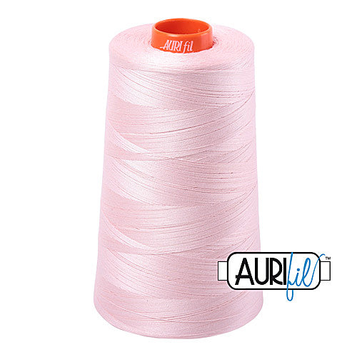 Aurifil Mako 50wt Cotton 5900 m (6452 yd.) cone - 2410 Pale Pink<br><font color = red>Please note, that this colour in this size is not available in-store, but will be ordered for you.</font>