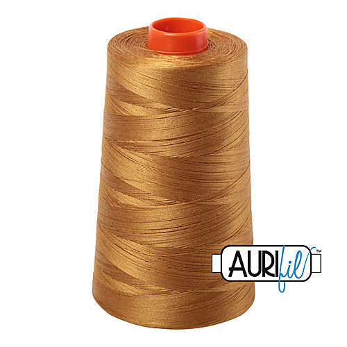 Aurifil Mako 50wt Cotton 5900 m (6452 yd.) cone - 2975 Brass<br><font color = red>Please note, that this colour in this size is not available in-store, but will be ordered for you.</font>