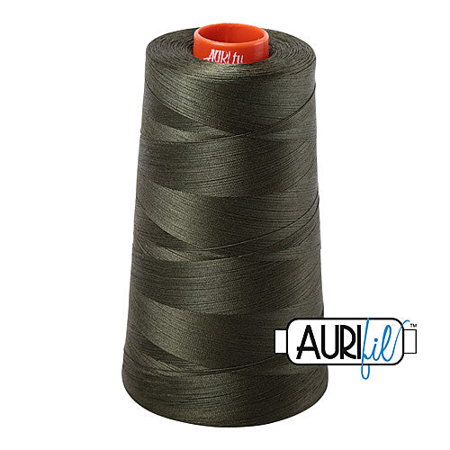 Aurifil Mako 50wt Cotton 5900 m (6452 yd.) cone - 5012 Dark Green<br><font color = red>Please note, that this colour in this size is not available in-store, but will be ordered for you.</font>