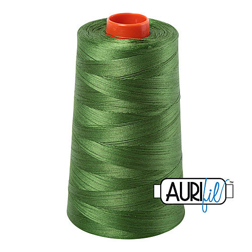Aurifil Mako 50wt Cotton 5900 m (6452 yd.) cone - 5018 Dark Grass Green<br><font color = red>Please note, that this colour in this size is not available in-store, but will be ordered for you.</font>