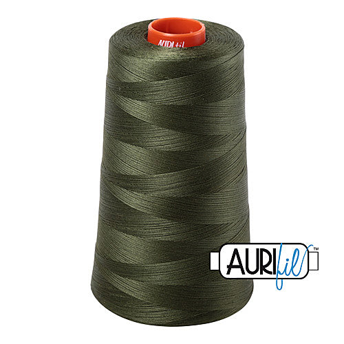 Aurifil Mako 50wt Cotton 5900 m (6452 yd.) cone - 5023 Medium Green<br><font color = red>Please note, that this colour in this size is not available in-store, but will be ordered for you.</font>