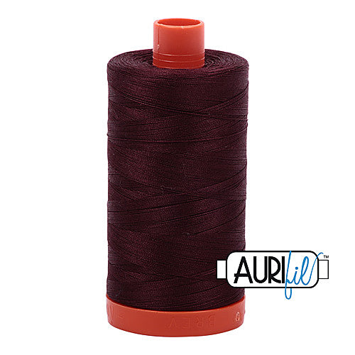 Aurifil Mako 50wt Cotton 1300 m (1422 yd.) spool - 2468 Dark Wine<br>