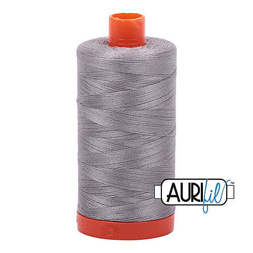 Aurifil Mako 50wt Cotton 1300 m (1422 yd.) spool - 2620 Stainless Steel<br>